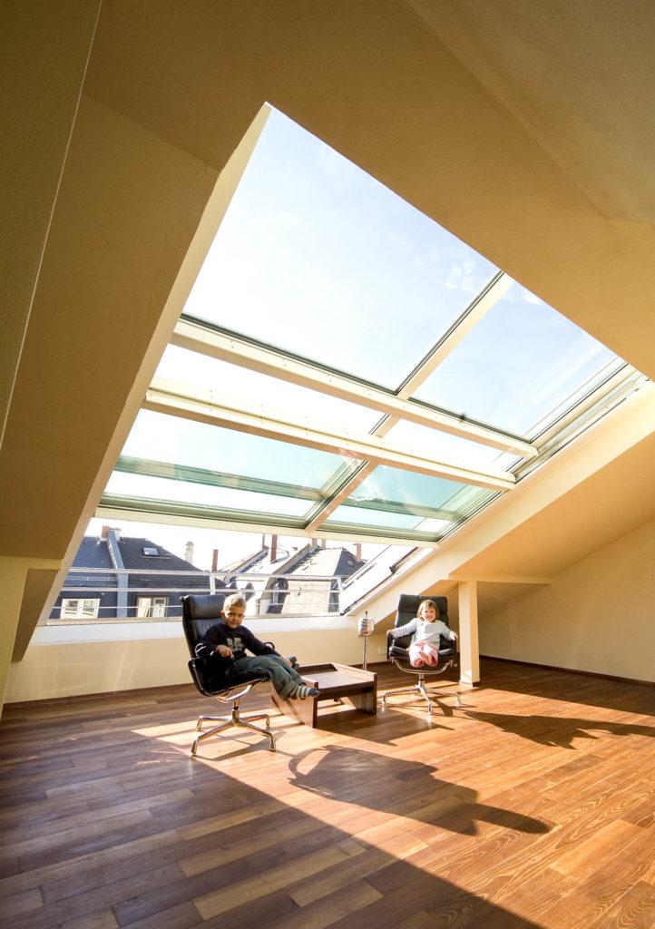4 teiliges OpenAir-Dachschiebefenster in Frankfurt (Objekt 948). Wohnlfühlen über den Dächern von Frankfurt