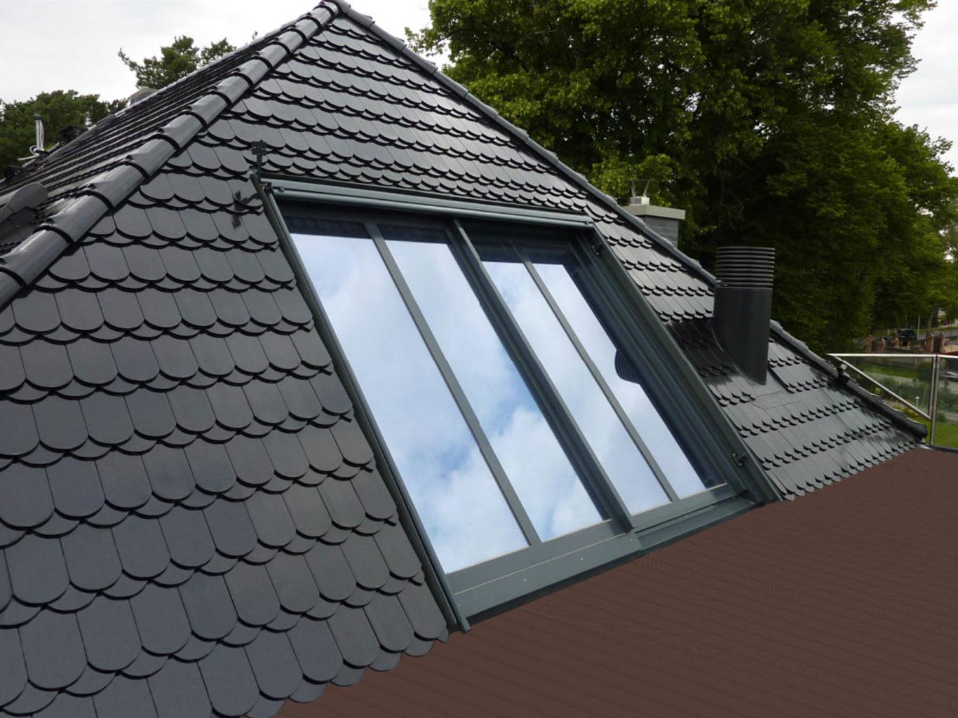 Dachfenster Panorama in Berlin (Objekt 1109). Panorama-Dachschiebefenster als Dachgeschoss-Belichtung und Dachterrassen-Zugang; flächenbündiger Einbau