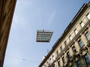OpenAir roof sliding window in Vienna (object 1055). ...set on with crane...
