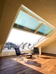 4-part OpenAir roof sliding window in Frankfurt (object 948). Feeling good above the roofs of Frankfurt