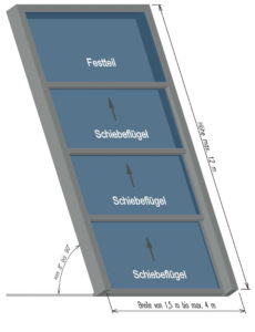 Sketch OpenAir roof sliding window 4-part.
