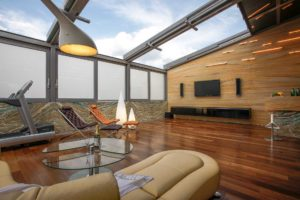 OpenAir sliding roof 4-part in conservatory in Moscow (object 1. The view into the sky of Moscow is open: switched on, electrochome glasses prevent if necessary the lateral view into the conservatory living space.