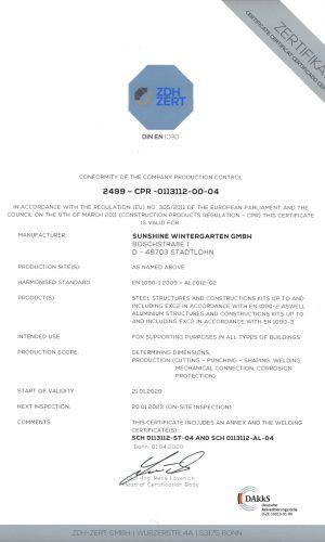 Welding Certificate EN-1090-1-EN