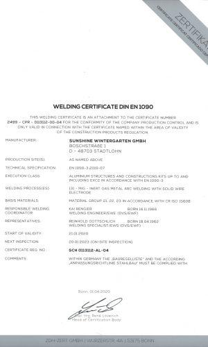 Welding Certificate EN-1090-3