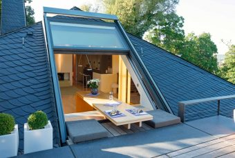 3-part OpenAir sliding roof window in Würzburg (Object 925). New living trends for the attic - kitchen or bathroom under the sloping floor