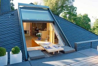 3-teiliges OpenAir-Dachschiebefenster in Würzburg (Objekt 925). Neue Wohntrends für das Dachgeschoss - Küche oder Bad unter der Schräge
